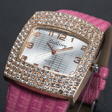 Luxury Womens Ladies Quartz Analog Diamond Gold Wrist Watch Sport Pink Leather