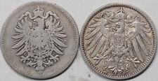 1875-H, 1910-F GERMANY 1 MARK KM7, LOT/2 - CIRCULATED