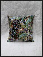 Black Paisley Handmade Kantha Cushion Cover Boho Pillow Sham Outdoor Pillow Art