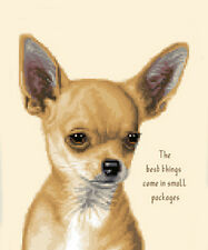 SMOOTH COAT CHIHUAHUA dog , PUPPY - complete counted cross stitch kit