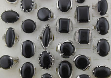 Job lots 25pcs Black Natural Stone Oversize Silver P Fashion Women Lady's Rings