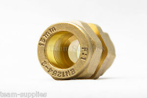 BRASS COMPRESSION REDUCER COUPLING 15MM - 10MM