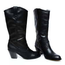Rodeo Sexy Cowgirl Cowboy Western Mid-Calf Slip-in Boots Black Size 5.5