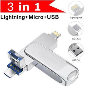 2TB 1TB USB3.0 Flash Drive for iPhone Memory Stick iPad External Storage 3 IN 1