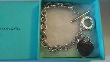 "TIFFANY & Co 8"" Sterling Silver 925 Blank Heart Tag Toggle Charm Bracelet w Box"