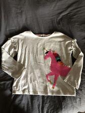 Mini Boden Girls Grey Long Sleeve Unicorn Applique Shirt T-shirt Top Size 7-8