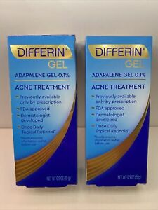 Lot Of 2 Differin Gel Acne Treatment 0.5 Oz(15g) Each Box Exp. Date 06/2023