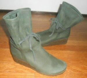 Arche France ~ Art to Wear ~ Green Nubuck Mid Calf Wedge Boots ~ 38