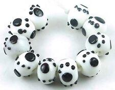 LAMPWORK Handmade Glass Black White Puppy Foot Print Rondelle beads (10)