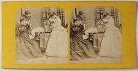Scena Artistica Illustrato Parigi Foto Stereo PL46Th1n2 Vintage Albumina c1865