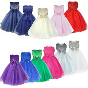 Flower Girls Tutu Dress Sequined Princess Party Wedding Kids Prom Gown Costumes