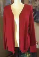 Liz Claiborne Womens ribbed Red full zipped long sleeve cotton knit cardigan XL