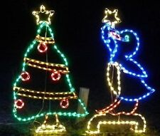 Penguin Decorating Tree Outdoor Holiday LED Lighted Decoration Steel Wireframe