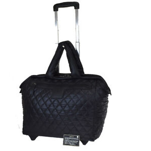 Authentic CHANEL CC Cocoon Matelasse Travel Roller Bag Nylon Black Italy 33BS505