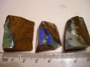 (Lot 2190) 3 Boulder Opal pieces, multi coloured opal interesting pieces.