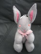 Vintage Cloth Gray Rabbit Movable Limbs Midwest Importers 1985 Taiwan Hanger