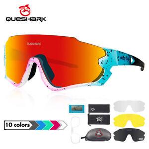 Queshark Pro Polarized Cycling Glasses MTB Road Bike Sunglasse 4 Lens/Set QE45