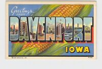 BIG LARGE LETTER VINTAGE POSTCARD GREETINGS FROM IOWA DAVENPORT