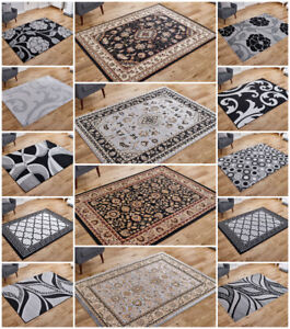 SMALL EXTRA LARGE RUNNER SILVER GREY FLORAL TRADITIONAL DESIGNER BUDGET AREA RUG
