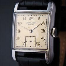 Rare 1940s Universal Geneve Stainless Steel Man's Rectangular Case Wristwatch NR