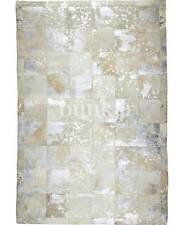 Bunkar Handmade Cowhide Leather Area Rug Rodeo Metallic Ivory Size 140x180cm
