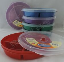 6 Microwave Plate w/Vented Lids Divided 3 Compartment Food Storage Cover Freeze
