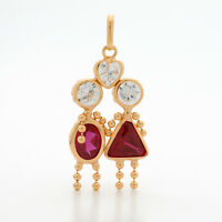 NEW 9ct Yellow Gold Gem Baby Pendant Couple Mum Dad Love Charm RRP $195 Lovers