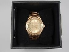 """NICOLLE MILLER """"MADISON"""" ROSE GOLD TONE CRYSTAL ACCENTED WATCH * WORKING"""
