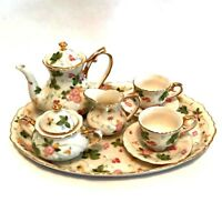Doll Display Tea Set Porcelain Floral Gold Trim 10 Pieces Tray 9 inches Long