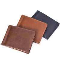 EG/_ HK Men Slim Leather Bifold Short Wallet Card Holder Purse Business Vintage