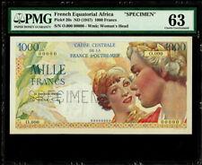 French Equatorial Africa 1000 Francs ND (1947) Pick 26s Specimen PMG 63 UNC