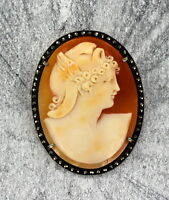 VINTAGE  HAND CARVED SHELL CAMEO BROOCH PIN  PENDANT STERLING SILVER