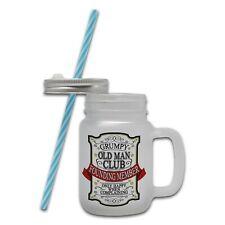Grumpy Old Man Club Novelty Glass Mason Jar Mug w/ Straw