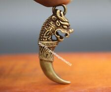 Old Collectible Animal Teeth Armored Miao Silver Wolf Head Statue PENDANT AMULET