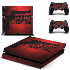 Red Dead Redemption 2 Decal Skin Sticker for PS4 Console + 2 Controllers