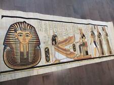 XXXL Huge Signed Handmade Papyrus Egyptian King TUT & Queen_ISIS Painting 71x26""