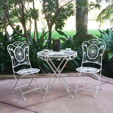 NEW! 3 PIECE BORDEAUX ANTIQUED HEAVY IRON FOLDING BISTRO SET - 2 CHAIRS + TABLE