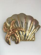 Mixed Metal Shell Starfish Pin Brooch Pendant