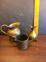 Vintage  Brass Set of 3 Vase Pitcher watering can as is