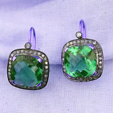 1.87Cts Rose Cut Diamond Emerald Studded Silver Victorian Style Earring Jewelry