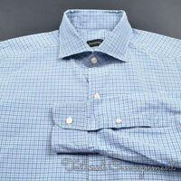 ERMENEGILDO ZEGNA White Blue Check 100% Cotton Mens Casual Dress Shirt - XL