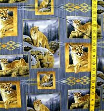 LION PORTRAITS LOOK INTO MY EYES WILD WINGS PRINT 100% COTTON FABRIC  1/2 YARD