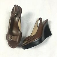 Cole Haan Women Wedges Sz 8 Brown Peep Toe Sling Back Lether Sandals $139