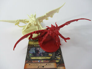 DESCENT Lot of 2 CRYPT DRAGONS & GAME CARDS Fantasy Miniature Figures FFG!!