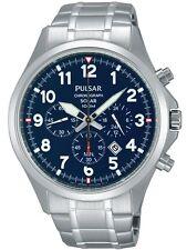Pulsar Mens PX5037 Solar Chronograph Analog Display Silver Watch