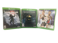 Lot Of 3 XBox 1 Video Games Injustice 2 UFC 2 Rise Of The Tomb Raider