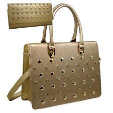 Women Rhinestone Studded  Handbag Purse With Matching Wallet