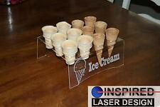 Engraved Acrylic 12 Ice Cream Cone Holder Tray Catering Stand Rack Wedding Party