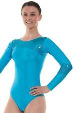 Blue Lycra High Shine Girls Gymnastics Leotard Gym Dancewear Age 4 - 12 Gym 9