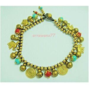 Ethnic Brass Elephant Charm Corals Turquoise Beads Handcraft Bracelet Anklet